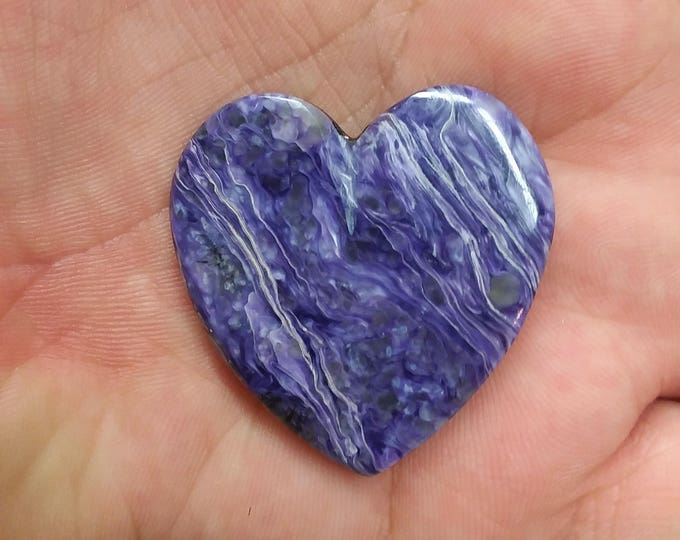 Featured listing image: Large Purple Charoite Heart Cabochon/ backed/