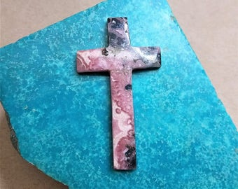 40% OFF Large Pink Rhodocrosite Cross/Crucifix/ backed/ seconds