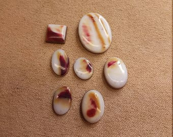 White & Purple Spiny Oyster Shell Cabochons/ backed/ ovals/ square