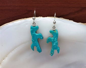 Blue Sonora Turquoise Mustang/ Horse Earrings with Sterling silver earwires