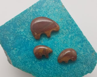 Red Blood Banded Onyx Bear Cabochon/ Set of 3/ backed