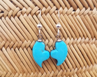 Blue Sleeping Beauty Turquoise Tiny Valentines Heart Earrings with Sterling Silver French Earwire / Backed