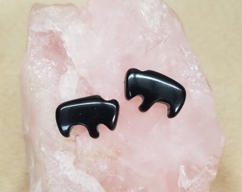 Small Black Colorado Oil Stone Buffalo Cabochon Pair/ backed