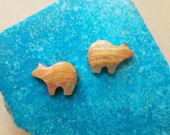 Golden Onyx Bear Cabochon Pair/ backed