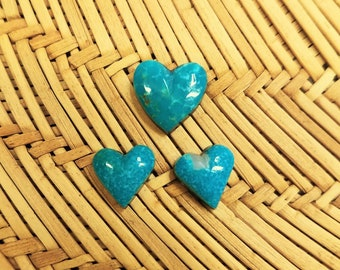 Blue Green Sonora Turquoise Heart Cabochon Trio/ backed