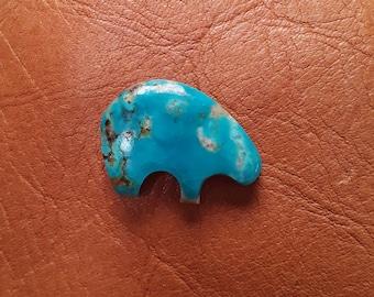 Blue Kingman Turquoise Medium Bear Cabochon/ backed