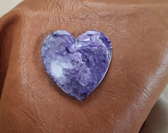 Large Purple Charoite Heart Cabochon/ backed