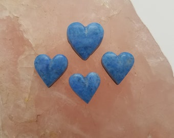 Light Blue Denim Lapis Lazuli Small Heart Cabochons/ backed/ Set of 4