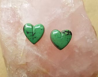 Green Concho Springs Turquoise Small Heart Cabochon Pair/ backed