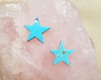 Blue Kingman Turquoise Small Star Cabochon Pair/ backed/ earring options