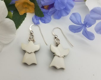 White Magnesite Angel Earrings with Sterling Silver French Earwire and Sterling Silver Wire wrap