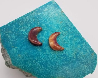 Purple and Orange Small Crescent Moon Cabochon Pair/ backed