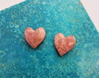 Pink Small Rhodocrosite Heart Cabochon Pair/ backed