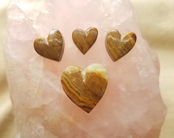 Brown & Red Onyx Heart Cabochon Set of 4/ backed