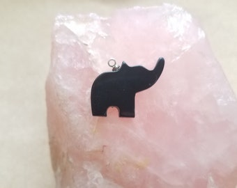 Black Colorado Oil Stone Medium Elephant Cabochon/ backed with sterling silver eyehook and jewelry options