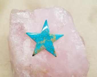 Blue Green Turquoise Mountain Large Star Cabochon/ backed with jewelry options