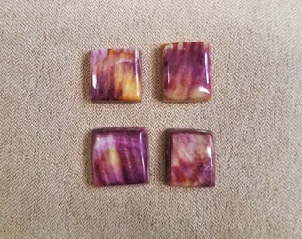 Purple and Orange Spiny Oyter Shell Square Cabochon Set/ backed