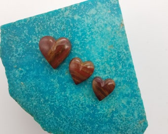 Red Banded Blood Onyx Small Heart Cabochons/ Set of 3/ backed