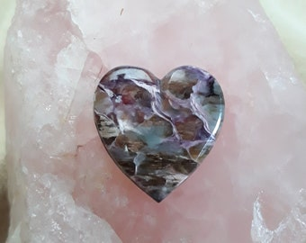 Purple & Brown Charoite Medium Heart Cabochon/ backed