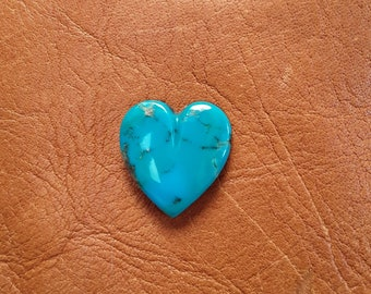 Blue Gem Turquoise Medium Heart Cabochon/ backed