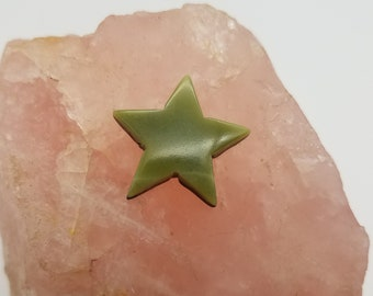Green Antique Verde Marble Medium Large Star Cabochon/ backed