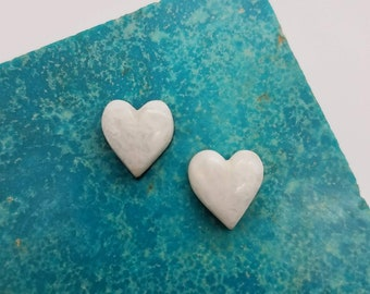 Crystalline and Opaque Small White Marble Cabochon Pair/ backed
