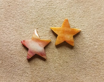 Orange, White and Pink Spiny Oyster Shell Small Star Cabochon Pair/ backed