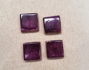 Dark Purple Spiny Oyster Shell Square Cabochons/ backed/ set of 4
