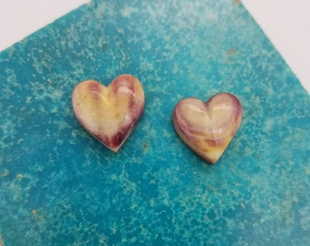 Purple, Orange and Yellow Spiny Oyster Shell Small Heart Cabochon Pair/ backed