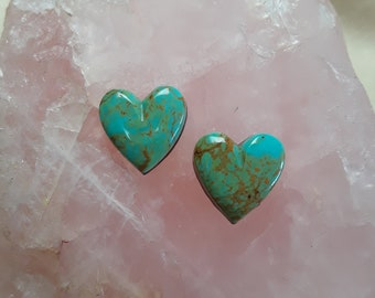 Green Pilot Mountain Small Heart Cabochon Pair/ backed