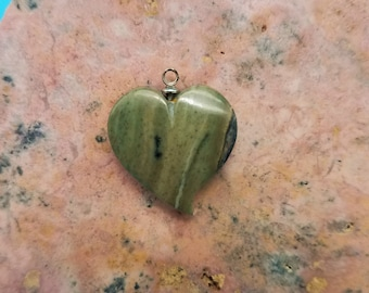 Forest Green Picasso Marble Medium Tear Heart Cabochon/backed/sterling silver eyehook