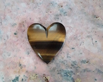 Tigers Eye Medium Heart Cabochon/ backed
