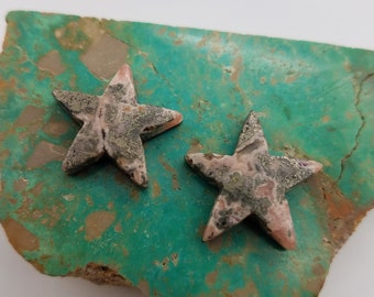 Pink Rhodocrosite Medium Star Cabochon Pair with Silver Matrix/ backed