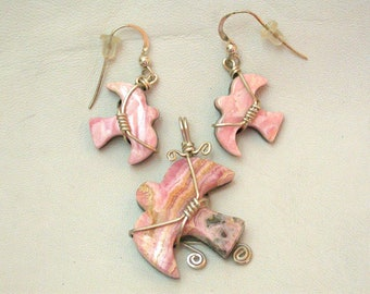 Pink Rhodocrosite Dove Pendant & Matching Earring Set with Sterling Silver wire-wrap