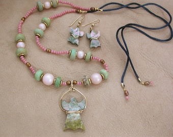 Pinks & Greens, Nevada Lapis Angels, with old Turquoise and antique Beads, Necklace and Earrings Set, Gold-plated wire wrapped