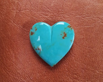 Green Turquoise Mountain Large Heart Cabcohon/ backed