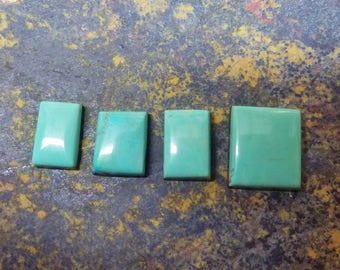 Green Turquoise Mountain Rectangle Cabochon Set of 4/ backed