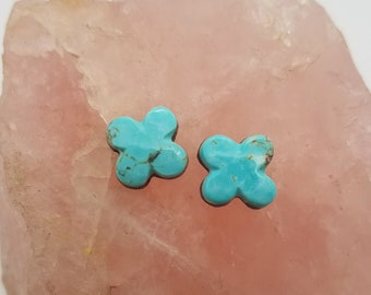 Blue Kingman Turquoise Small Four Leaf Clover Cabochon Pair/ backed