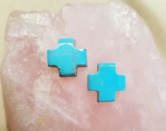 Blue Kingman Turquoise Small Gothic Cross Cabochon Pair/ backed with jewelry options
