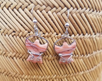 Peach Rainbow Marble Angel Earrings with Sterling Silver Wire Wrap with French Earwires