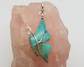 Large Blue Green Turquoise Mountain (Side view) Butterfly Pendant with Eyehook & Sterling Silver Wirewrrap