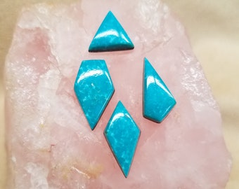 Blue  Sonora Turquoise Diamonds & Triangle  Cabochon Set of 4/ Backed