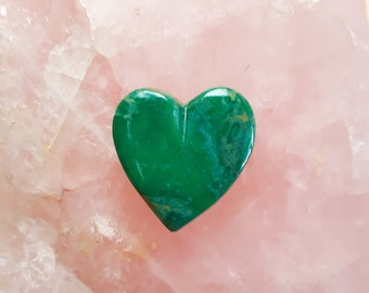 Green Concho Springs Turquoise Medium Heart Cabochon/ backed