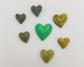 40% OFF--Green Varisite, Antique Verde and Picasso Small Marble Heart Cabochon Group/ backed/ seconds