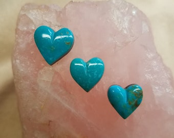 Blue Sonora Turquoise Small Heart Cabochon Set of 3/ backed