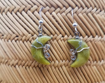 Green Antique Verde Crescent Moon Earrings with Sterling Silver Accent wire