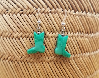 Green Variscite Cowboy Boot Dangle Small Earrings with Sterling Silver French Earwire