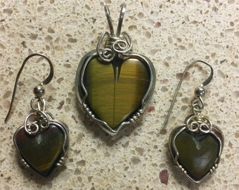 Green Gold Tigers Eye Heart Pendant & Matching Earrings Set with sterling silver wire wrap design