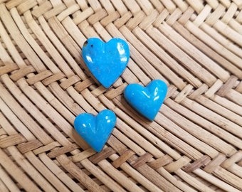 Blue Sonora Turquoise Small Heart Cabochon Trio/ backed