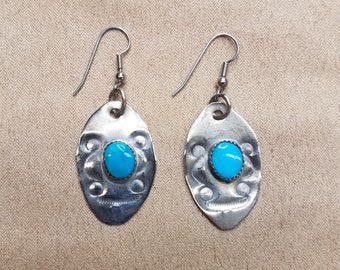 Native American Tribal German Silver & Turquoise Oval Earrings with Handstamped Design